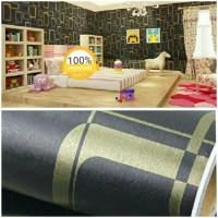 Grosir Termurah Wallpaper Sticker Dinding hitam kotak garis emas 10 M