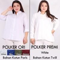 Kemeja Wanita Jumbo Putih Polos Polker Baju Atasan Lengan Panjang