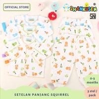 Setelan Baju Bayi Panjang Shankusen Tupai (Squirrel) 3 pasang