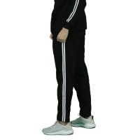 Double Stripes Side Celana Panjang Hitam Trackpants Sweatpants Unisex - Hitam, S