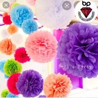 POMPOM FLOWER 25cm / TISSUE POMPOM BUNGA 25cm / BUNGA KERTAS