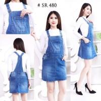 Baju Rok Kodok Dress Overall Jumpsuit Bahan Jeans Levis Lentur Pendek