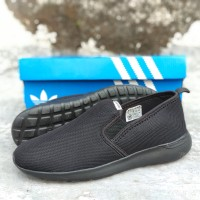 sepatu adidas cloudfoam full black sneakers slip on pria made in vietn