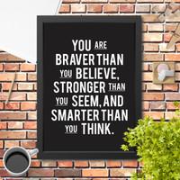 Lukisan Poster Hiasan Dinding quote motivasi You are braver typography