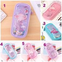 Kotak Pensil Glitter / Liquid Beads Pencil Case Flamingo Unicorn