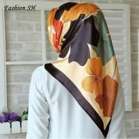 satin hijab Bunga Kerudung Jilbab Segi Empat Premium Square Motif L121