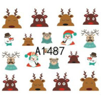 Christmas Reindeer Water Decal Nail Sticker Stiker Kuku A1487