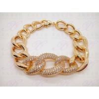 Gelang rantai dewasa lapis emas perhiasan imitasi 18K 036