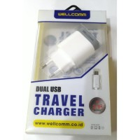 Wellcomm Travel Charger USB dan Kabel IPhone 6 2.1A Fast charging
