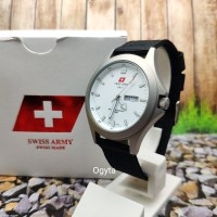 Swiss Army Analog Jam Tangan Pria Silver Putih Canvas 1880G Original