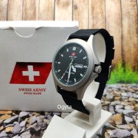 Swiss Army Analog Jam Tangan Pria Silver Hitam Canvas 1880G Original