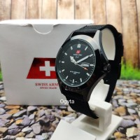 Swiss Army Analog Jam Tangan Pria Hitam Canvas 1880G Original