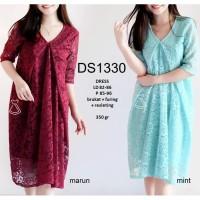 DS1330 - DRESS PESTA BRUKAT MIDI SEPAN LACE DRESS WANITA PREWEDDING