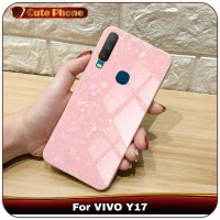 Casing VIVO Y17 Y 17 Soft Case Hard Tempered Glass 3D Marble Softcase