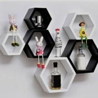 rak dinding hexagon/pajangan dinding hexagon/hiasan dinding