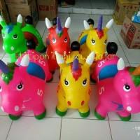 mainan kuda jumping unicorn _ hewan tunggang karet tanduk anak edukasi