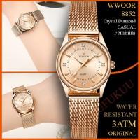 JAM TANGAN WANITA WWOOR 8852 ROSE GOLD ANTI AIR RANTAI MESH ORIGINAL