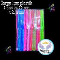 @24 pcs garpu kue plastik warna warni buah ulang tahun