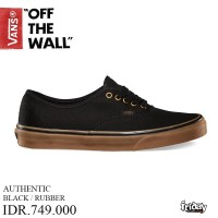 VANS OFF THE WALL | AUTHENTIC BLK RUBBER | SEPATU