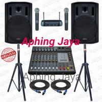 Paket Sound System Pro Indoor dan Outdoor Pasif 15in + Power Mixer