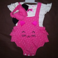 Baju Bayi Anak Perempuan Setelan Jumper Bandana