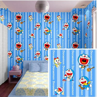 Wallpaper Dinding Doraemon Doremi Garis