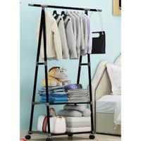 Triangle Stand hanger rak buku Serbaguna dengan 4 roda