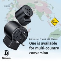 Universal Travel Adaptor Charger Baseus Dual USB 2.4A Fast Charging