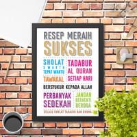 Poster Hiasan Dinding islami resep meraih sukses 1 quote islami