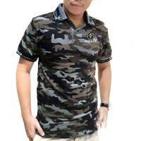 XL - KERAH COKLAT ARMY - Baju polo police loreng motif camo pria