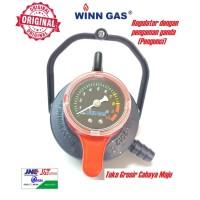 Regulator LPG Winn Gas W-900 M Pengaman Triple Lock dan Meteran W900M