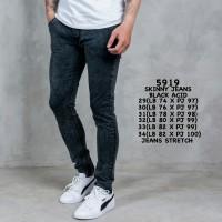Celana Jeans Skinny Pria Premium Black Acid Washed