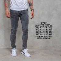 Celana Jeans Skinny Pria Premium Grey Acid Washed