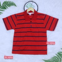 Kerah Salur T-Shirt Anak Laki uk 5-6 Tahun / Kaos Salur Baju Adem