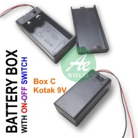 Box Batere Kotak 9V Holder Battery Tempat Baterai 9V Switch On-Off
