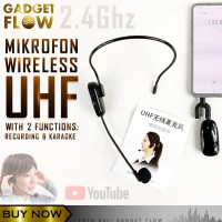 Mic Microphone Wireless UHF 2.4G Smartphone DSLR Speaker MULTIFUNGSI