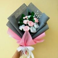 Buket Bunga Mawar flanel untuk hadiah wisuda, ultah, valentine, anniv