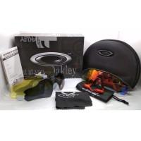 Kacamata sepeda Radar Ev hitam list merah 5 lensa full set - sunglass