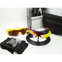 Kacamata sepeda Radar Lock hitam merah fire 5 lensa - sunglasses