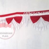 Bendera merah putih Rumbai segitiga 10 gelombang 10 meter