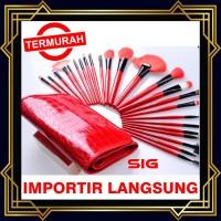Cosmetic Brush Set isi 24 pcs RED- KUAS MAKE UP DOMPET MERAH