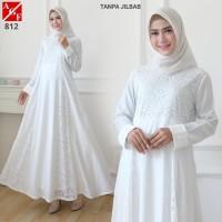 AGNES Baju Gamis Putih Wanita Baju Umroh Gamis Syari Syari Pesta 812
