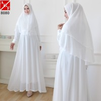 Baju Gamis Wanita / Gamis Putih / Muslim Wanita #8080 STD