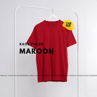 KAOS POLOS COTTON COMBED 30s - Size S M L XL - PENDEK - Warna Maroon