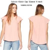 Calvin Klain Cop Sleeve V-neck blouse brand murah
