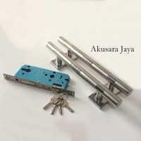 1 Pasang Pull Handle + Body Kunci |Gagang Pintu SET | Suling SS