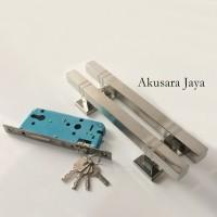 1 Pasang Pull Handle + Body Kunci | Gagang Pintu SET | Kubus SS
