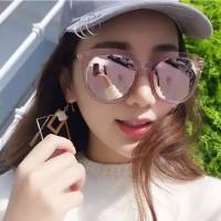 Kacamata Hitam Wanita Model Korea Mewah Bahan Metal Warna Warni