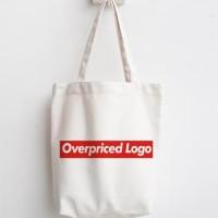 totebag logo supreme tas belanja lipat tas blacu dan kanvas recycle