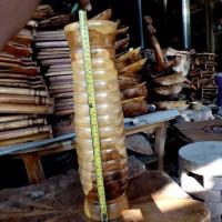 Guci Vas Bunga Kayu Jati Ulir Cukit Hiasan Dekorasi Rumah Ruang Tamu